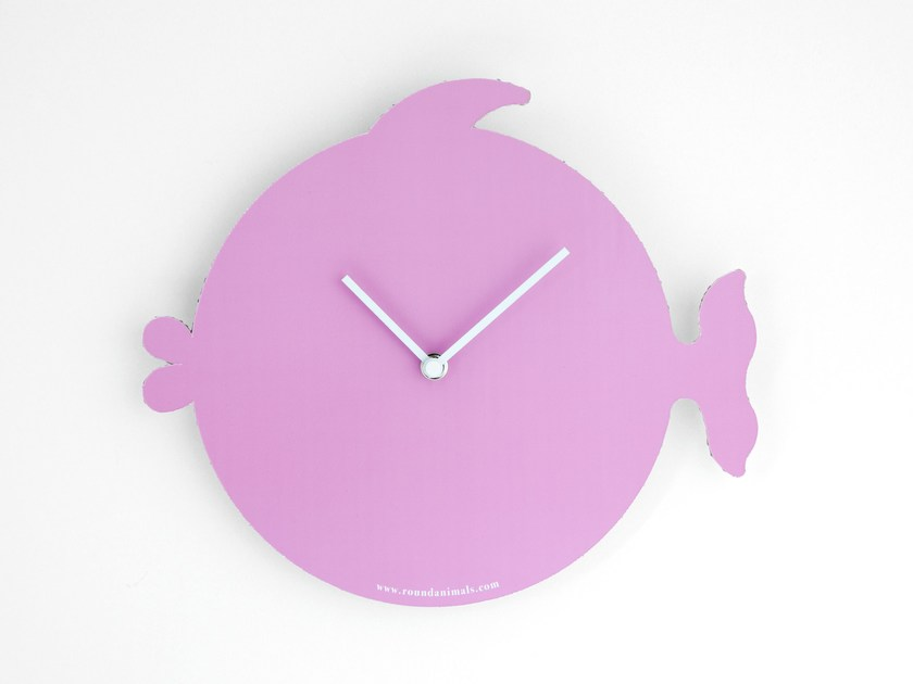 Wall-mounted cardboard clock THE PINK FISH by Round Animals Design
