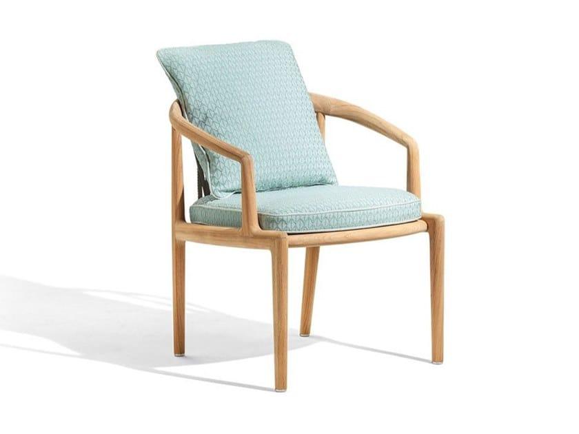 Upholstered teak garden chair with armrests THE SECRET GARDEN   Garden chair by Poltrona Frau