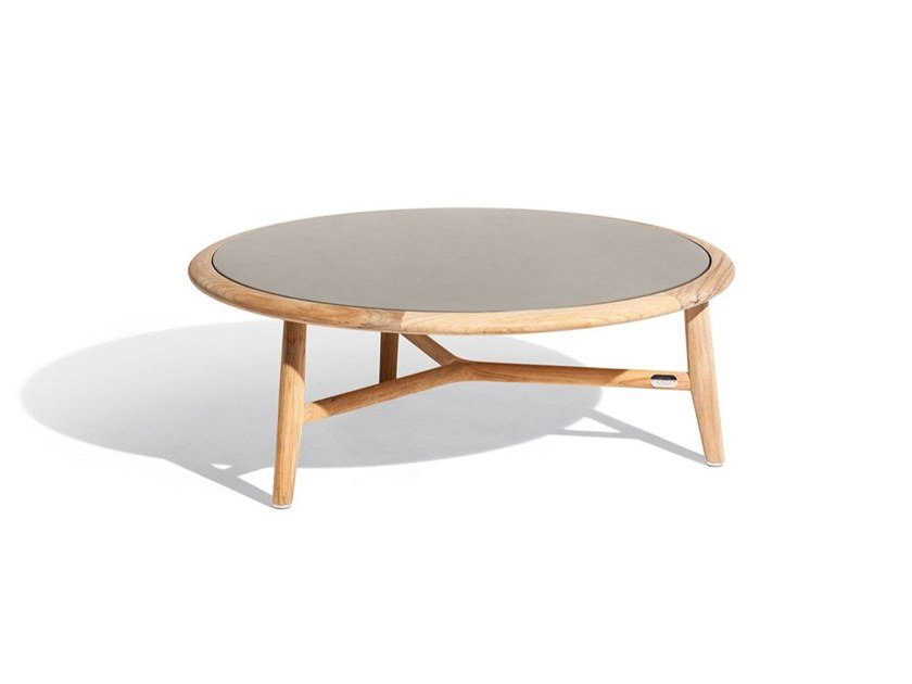 Low round teak garden side table with stoneware top THE SECRET GARDEN | Garden side table by Poltrona Frau