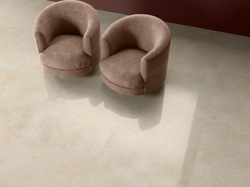 Porcelain stoneware wall/floor tiles with marble effect THEMAR CREMA MARFIL by CERAMICA SANT'AGOSTINO