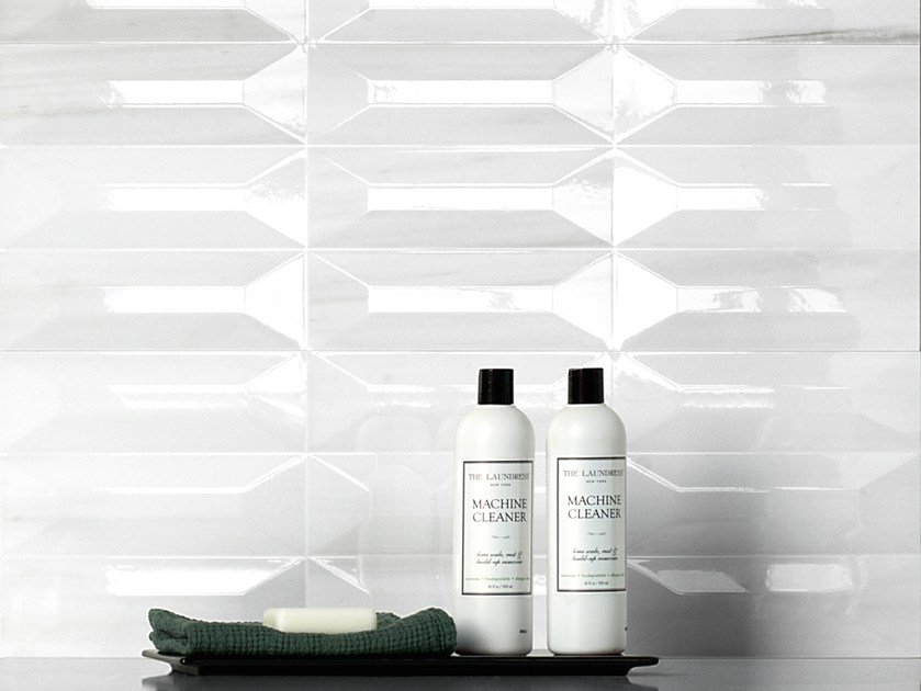 White-paste 3D Wall Cladding THEMAR WALL CULT BIANCO LASA by CERAMICA SANT'AGOSTINO