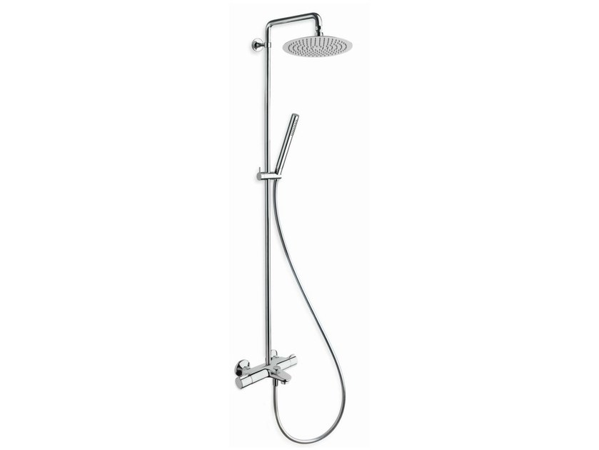 Wall-mounted thermostatic shower panel with hand shower THETA V | Shower panel by CRISTINA