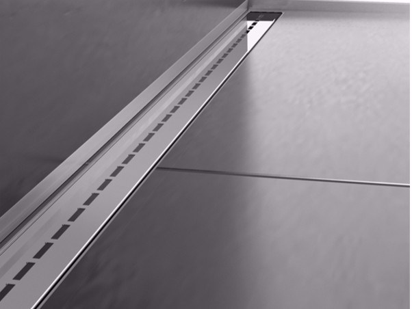 Stainless steel shower channel THIN DRAIN SINGLE LINE COVER by PROFILPAS