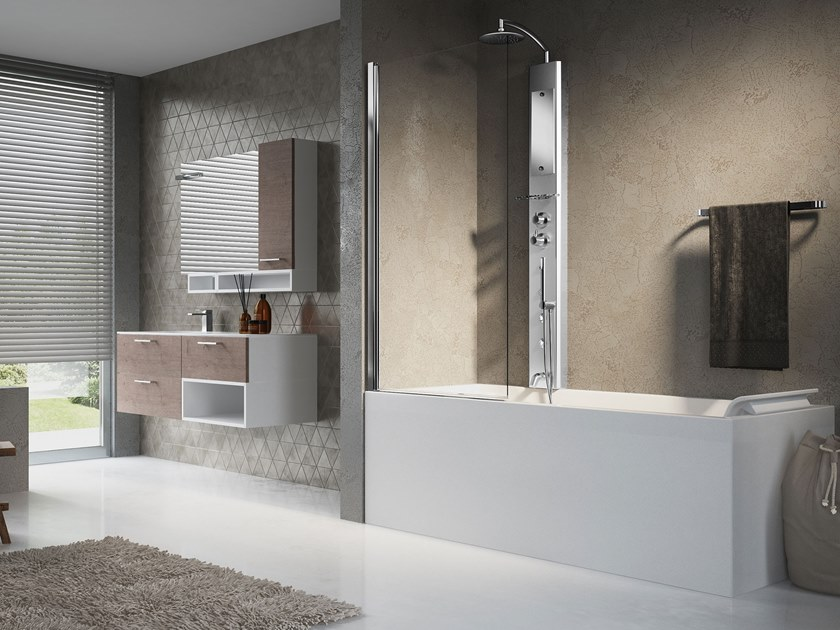 Multifunction shower panel with overhead shower THINK 2 by NOVELLINI