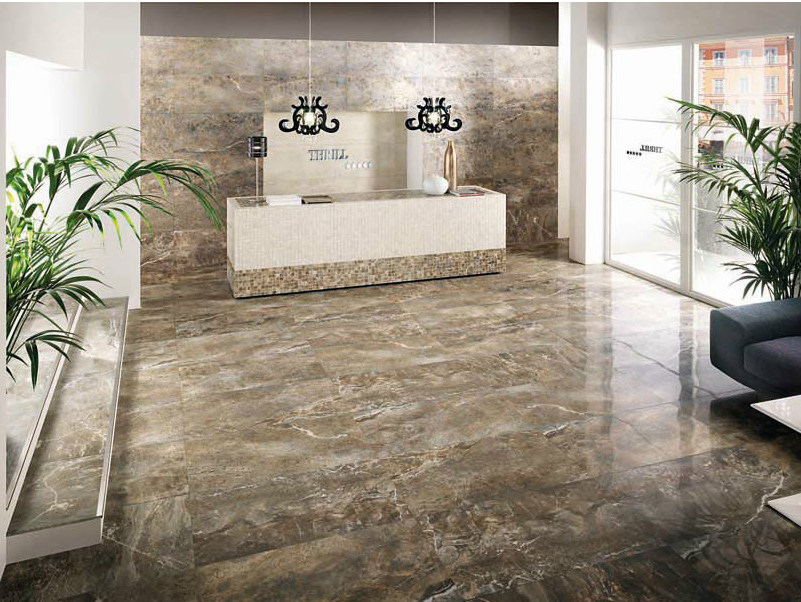 Porcelain stoneware wall/floor tiles with marble effect THRILL WALNUT by La Fabbrica