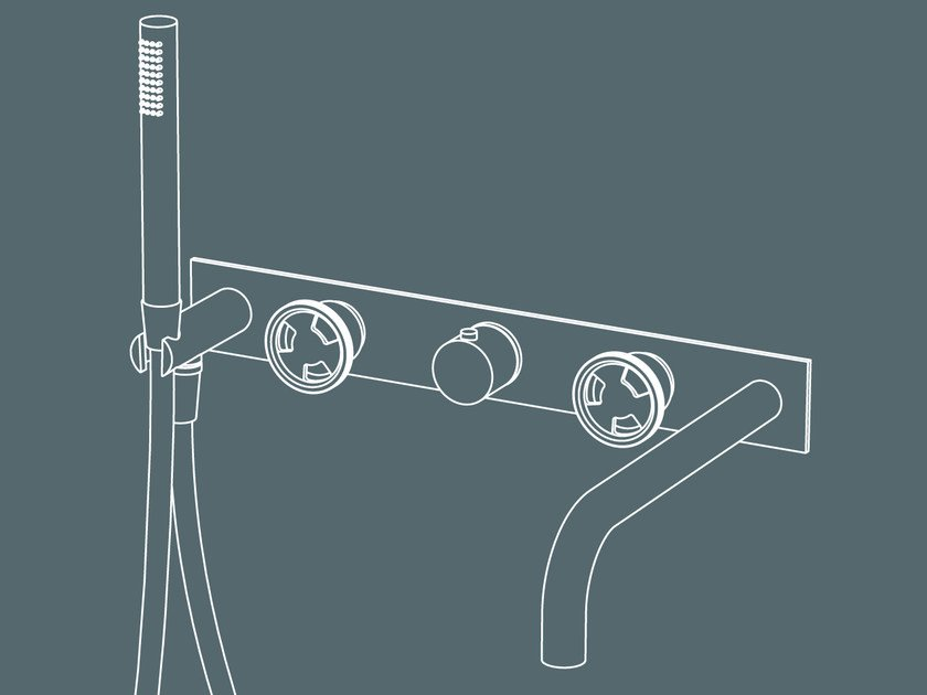 Wall-mounted thermostatic bathtub tap with hand shower TIBÒ - GPO49 by GEDA
