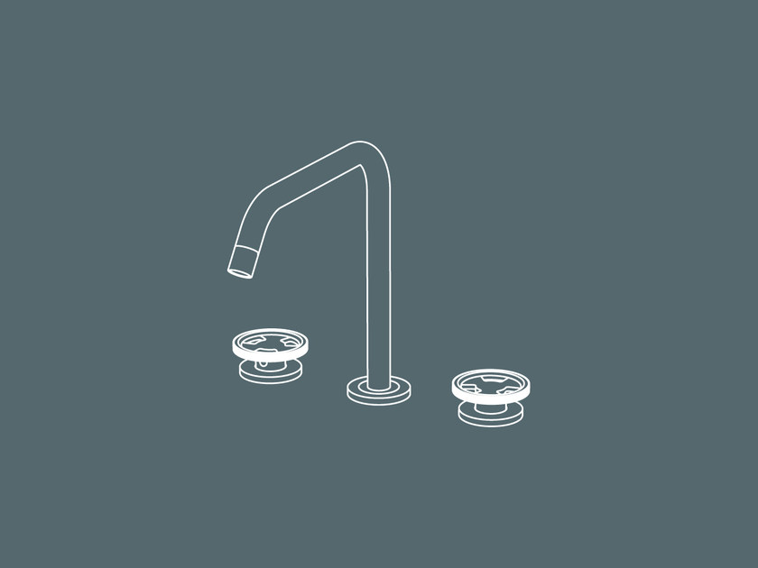 3 hole countertop washbasin tap without waste TIBÒ - TIB53 by GEDA