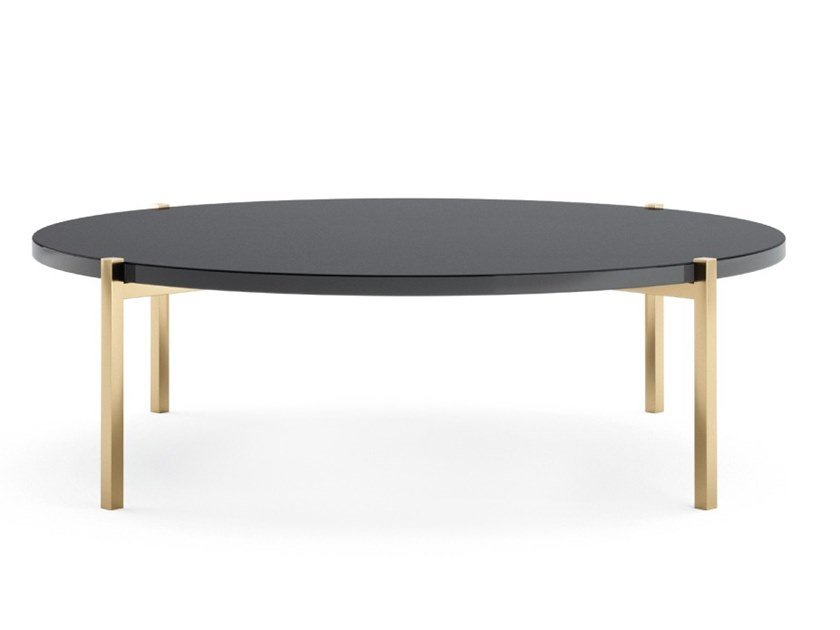Round stainless steel and wood coffee table for living room TIGER | Coffee table for living room by PRADDY