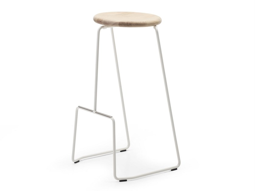 High sled base wooden stool TIKI | High stool by Extremis