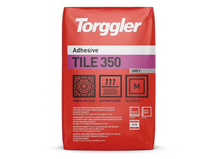 Cement adhesive for flooring TILE 350 by Torggler Chimica