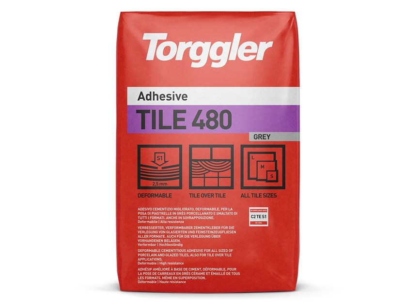 Cement adhesive for flooring TILE 480 by Torggler Chimica