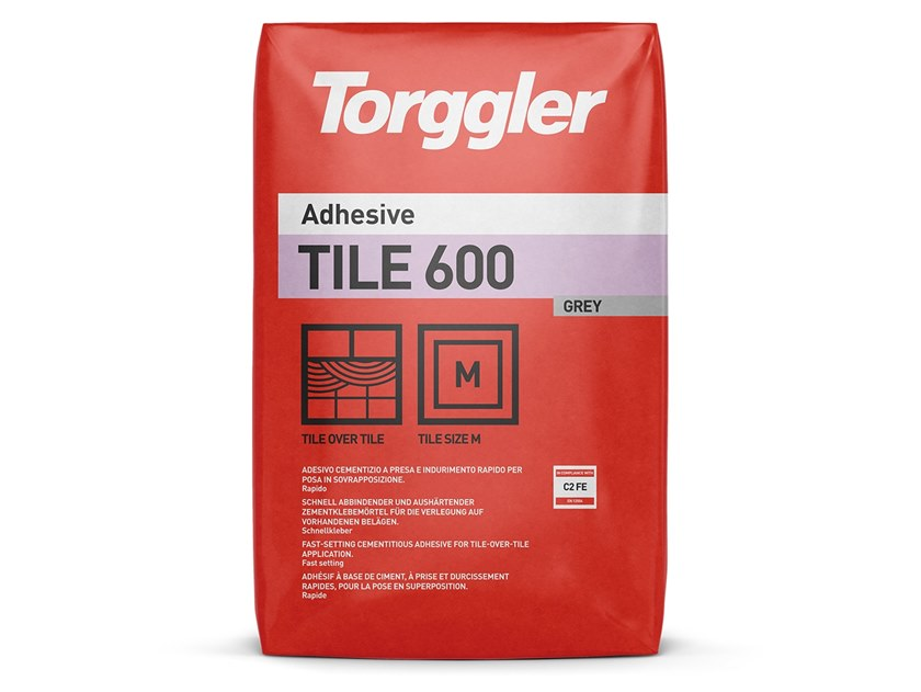 Cement adhesive for flooring TILE 600 by Torggler Chimica