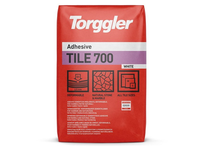 Cement adhesive for flooring TILE 700 by Torggler Chimica