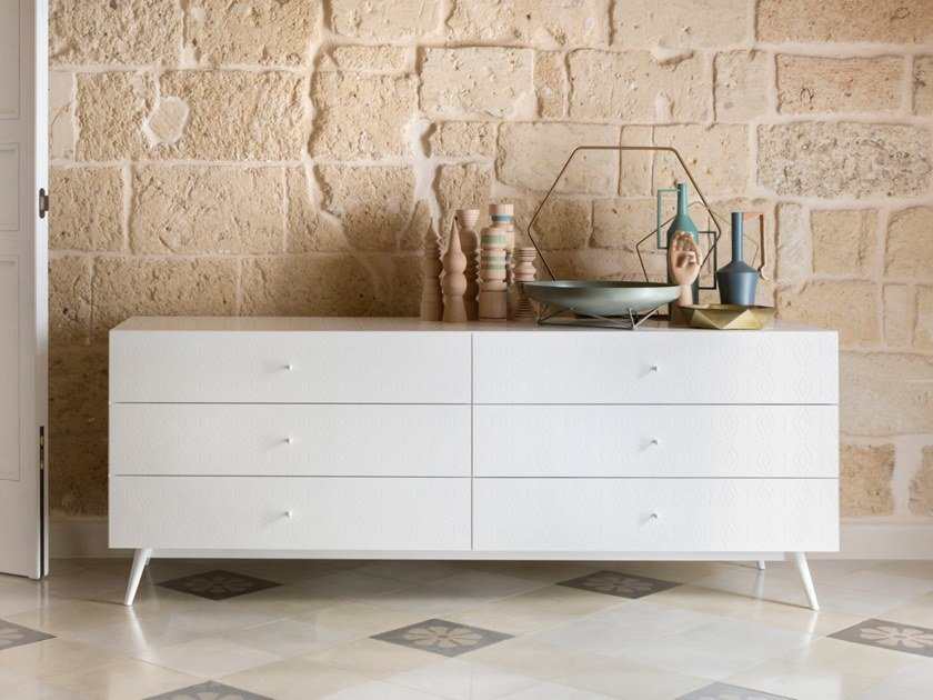 Lacquered wooden chest of drawers TILES | Lacquered chest of drawers by Barba design