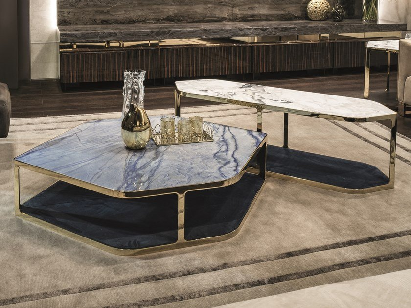 Low hexagonal coffee table with integrated magazine rack TILES | Hexagonal coffee table by Longhi