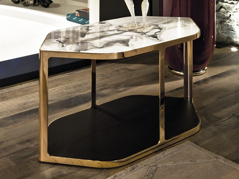 Hexagonal high side table with integrated magazine rack TILES | High side table by Longhi
