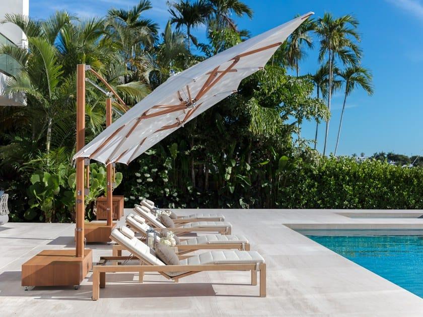 Adjustable offset wooden Garden umbrella MAX CANTILEVER TILT by TUUCI