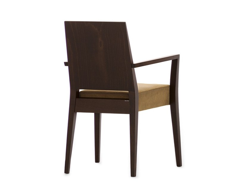 Upholstered stackable chair with armrests TIMBERLY 01721 by Montbel