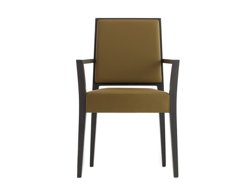 Upholstered stackable chair with armrests TIMBERLY 01724 by Montbel