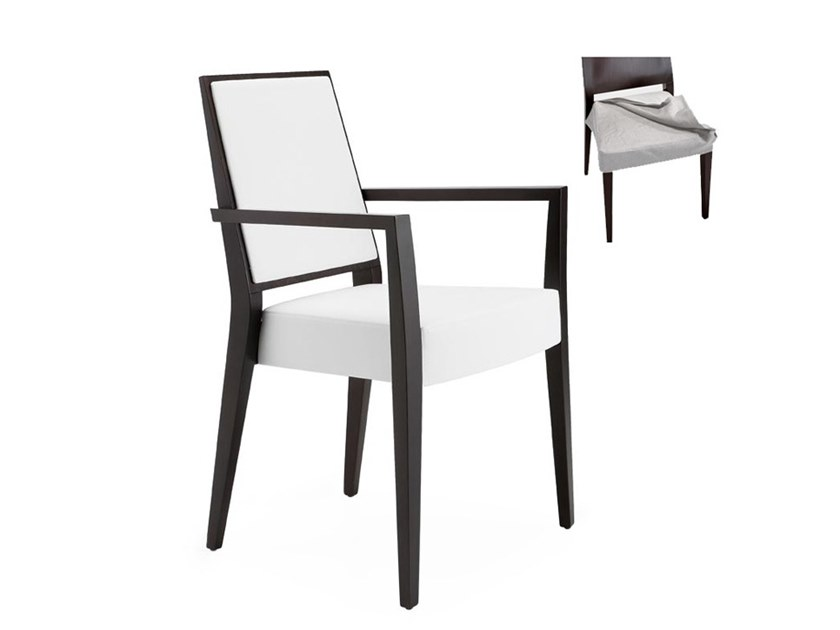 Stackable chair with removable cover with armrests TIMBERLY 01725 by Montbel