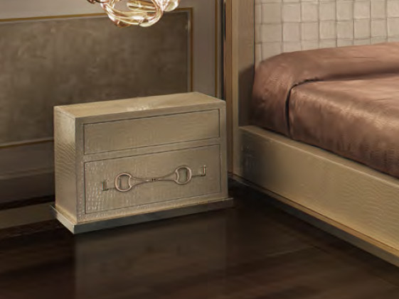 Rectangular leather bedside table with drawers TIME SQUARE | Bedside table by Formitalia