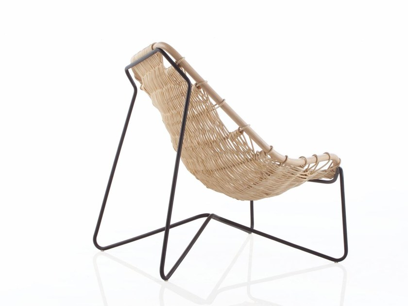 Woven wicker easy chair TINA by EXPORMIM