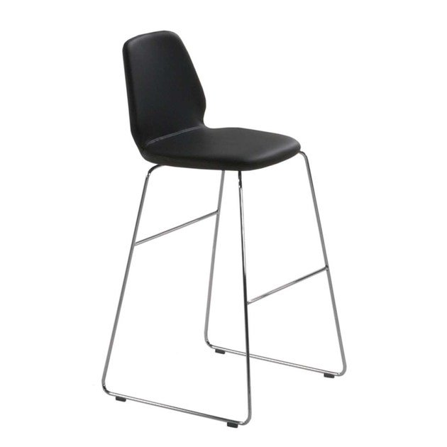 High sled base leather stool with footrest TINDARI HIGH STOOL - 554 by Alias
