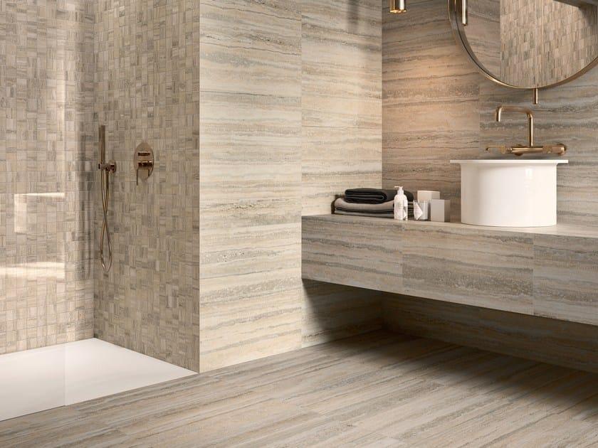 Pavimento rivestimento in gres porcellanato effetto travertino tipos bone ceramica sant 39 agostino - Piastrelle tipo mosaico ...