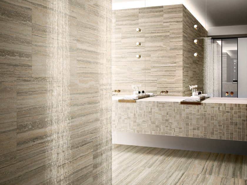 Porcelain stoneware wall/floor tiles with travertine effect TIPOS ...