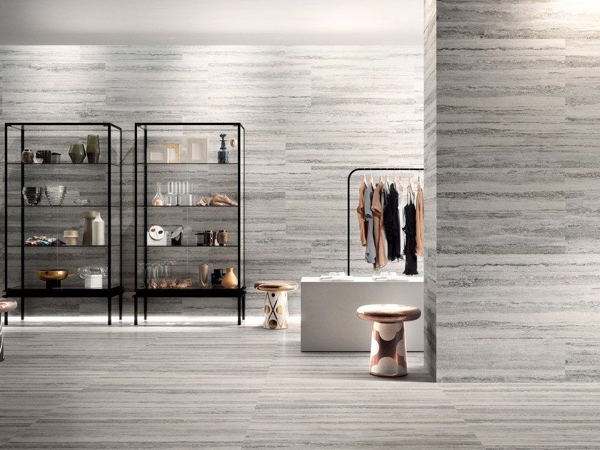 Porcelain stoneware wall/floor tiles with travertine effect TIPOS WHITE by CERAMICA SANT'AGOSTINO