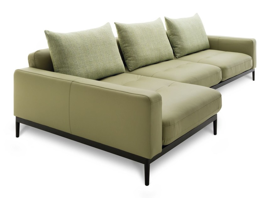 Leather sofa with chaise longue TIRA   Leather sofa by Rolf Benz