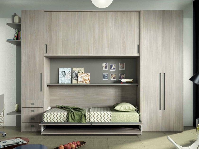 Teenage bedroom with bridge wardrobe TIRAMOLLA 954 by TUMIDEI