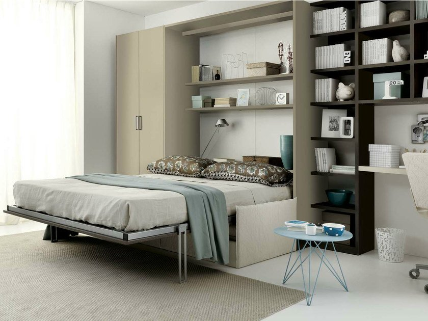 Storage wall with fold-away bed TIRAMOLLA 961 by TUMIDEI