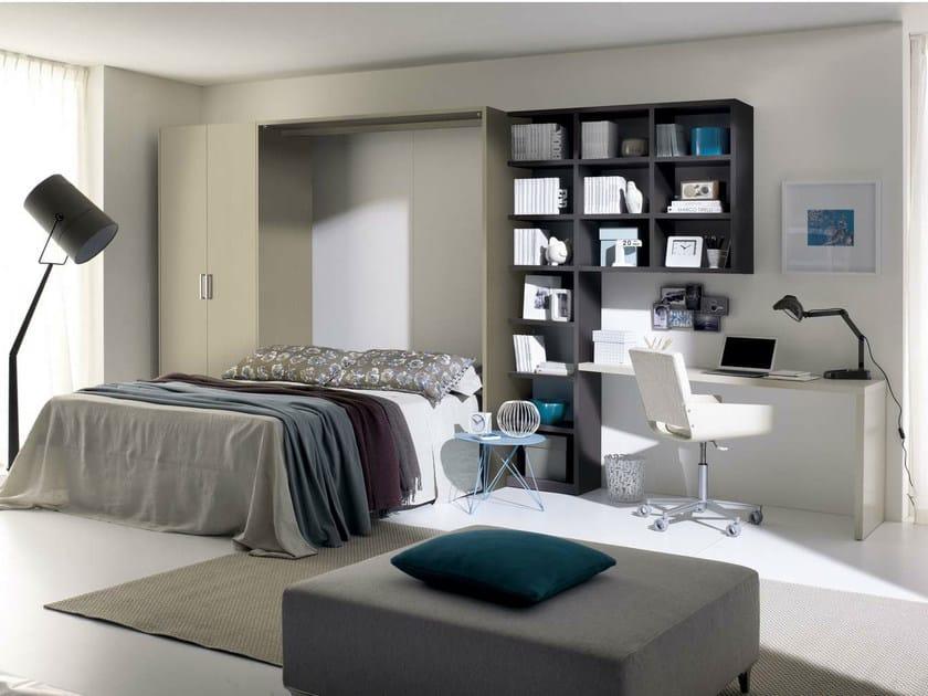 Storage wall with fold-away bed TIRAMOLLA 962 by TUMIDEI