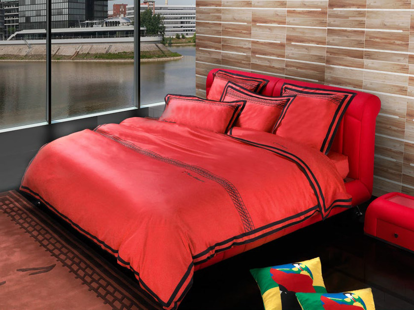 Leather double bed with upholstered headboard TL 200 | Double bed by Tonino Lamborghini Casa
