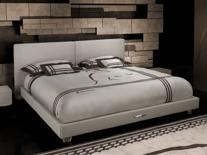 Leather double bed with upholstered headboard TL 230 | Double bed by Tonino Lamborghini Casa