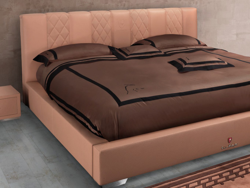 Leather double bed with upholstered headboard TL 240/A | Double bed by Tonino Lamborghini Casa