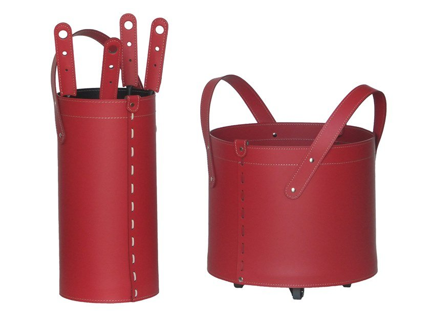 Bonded leather Log holder / Fire tools TOCAD by LIMAC design FIRESTYLE