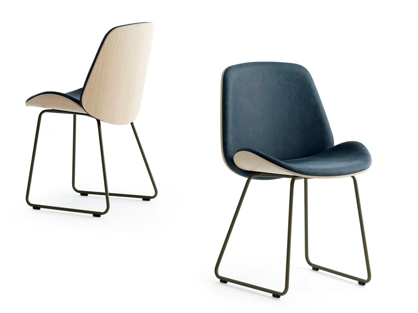 Sled base upholstered fabric chair TOKAI | Sled base chair by Pode