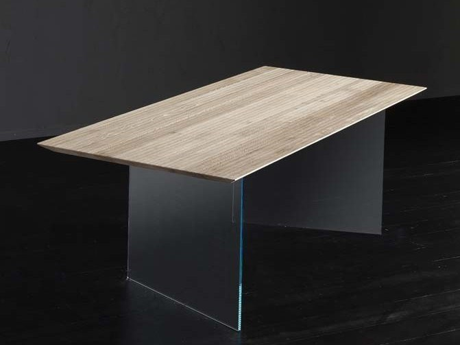 Rectangular wood and glass dining table TOLEDO + ICE by AltaCorte