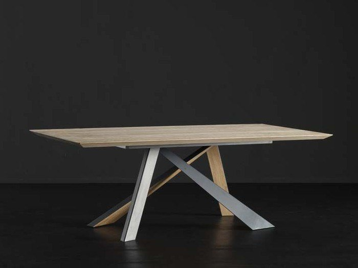 Rectangular wooden dining table TOLEDO + METAL/LEGNO by AltaCorte