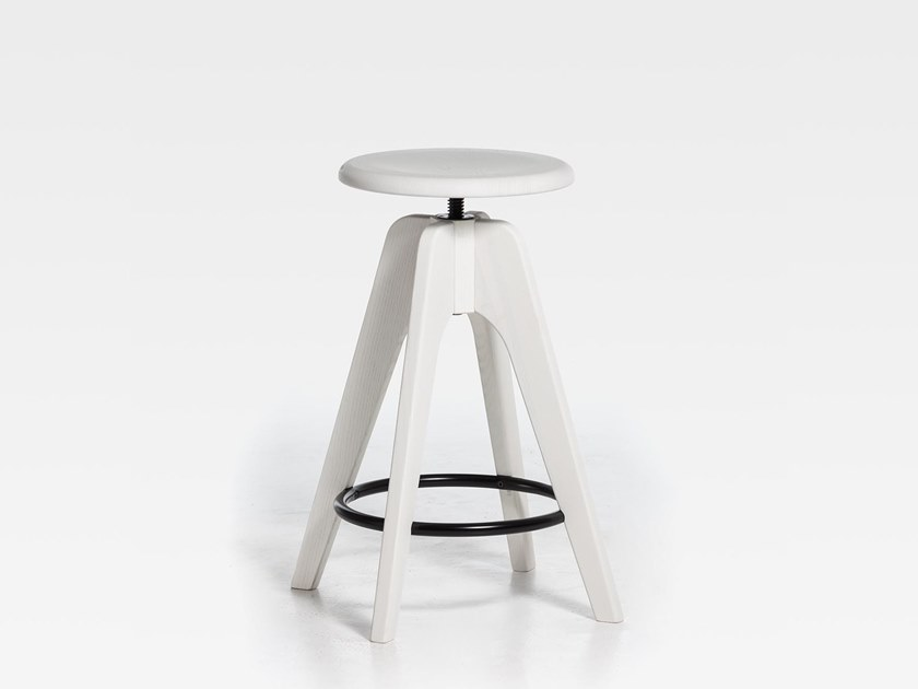 Lacquered height-adjustable wooden stool TOMMY SW | Lacquered stool by SIPA