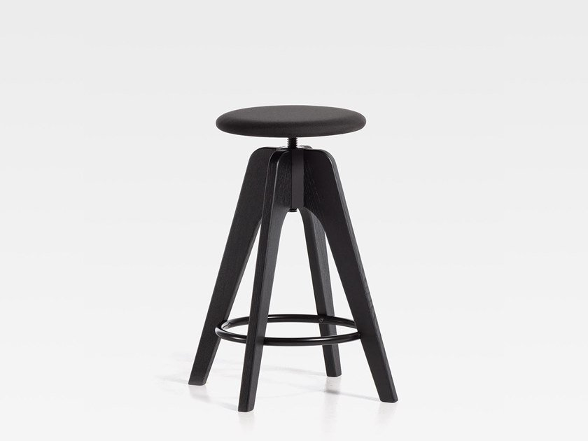 Upholstered height-adjustable wooden stool TOMMY SW | Upholstered stool by SIPA