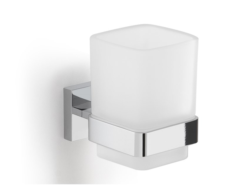 Wall-mounted satin glass toothbrush holder ELBA | Toothbrush holder by GEDY