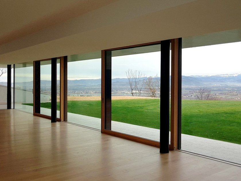 Aluminium and wood lift and slide window TOP ZERO - SISTEMA ZERO   Lift and slide window by Alpilegno