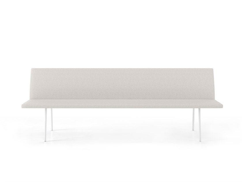 Upholstered fabric bench with back TORII | Fabric bench seating by Viccarbe