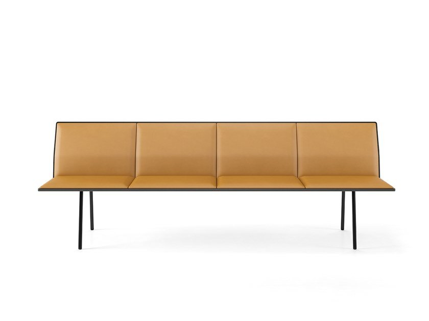 Upholstered leather bench with back TORII | Leather bench seating by Viccarbe