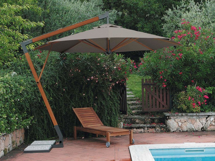 Round offset aluminium and wood Garden umbrella TORINO BRACCIO   Round Garden umbrella by Scolaro Parasol