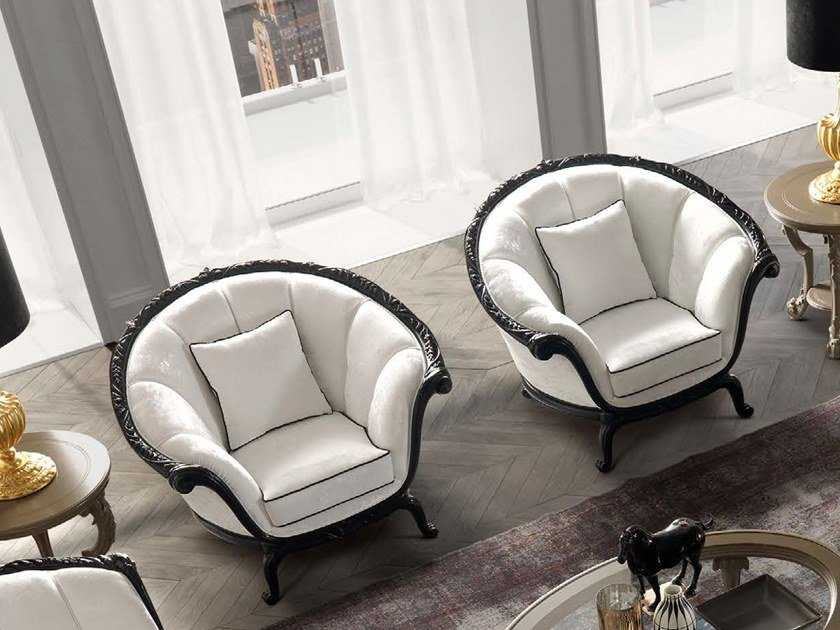 Upholstered fabric armchair with armrests TORNABUONI | Fabric armchair by Andrea Fanfani