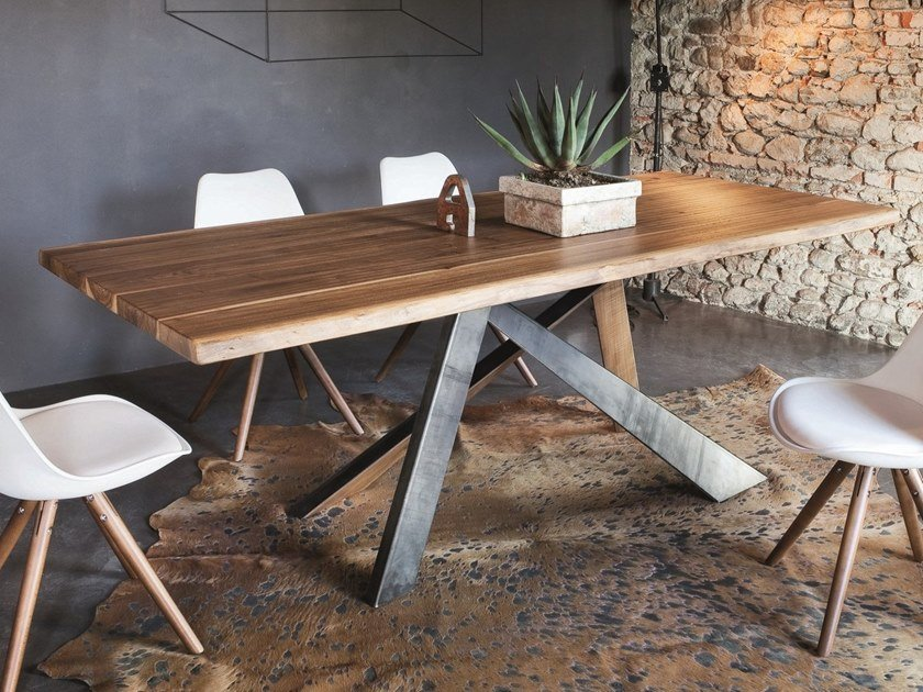 Rectangular walnut dining table TORONTO + METAL by AltaCorte